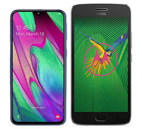 Smartphone Comparison: Samsung galaxy a40 vs Motorola moto g5 plus