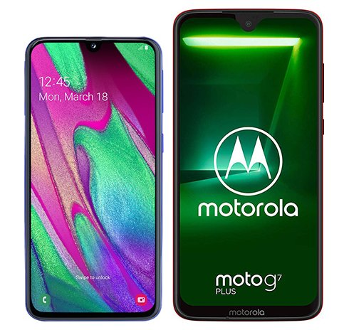 Smartphone Comparison: Samsung galaxy a40 vs Motorola moto g7 plus