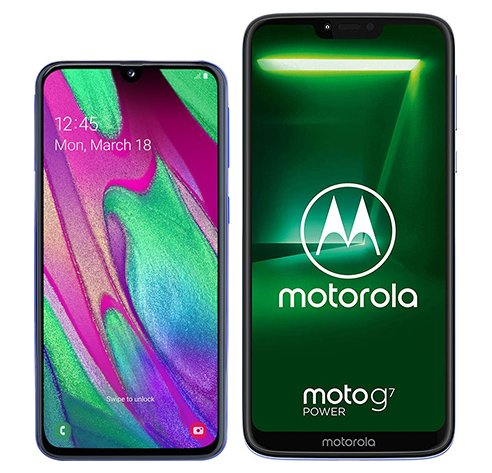 Smartphone Comparison: Samsung galaxy a40 vs Motorola moto g7 power