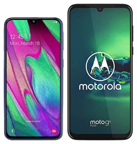 Smartphone Comparison: Samsung galaxy a40 vs Motorola moto g8 plus