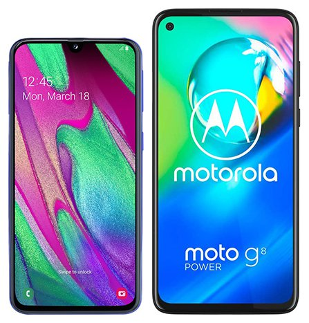 Smartphone Comparison: Samsung galaxy a40 vs Motorola moto g8 power