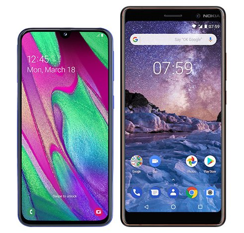 Smartphone Comparison: Samsung galaxy a40 vs Nokia 7 plus
