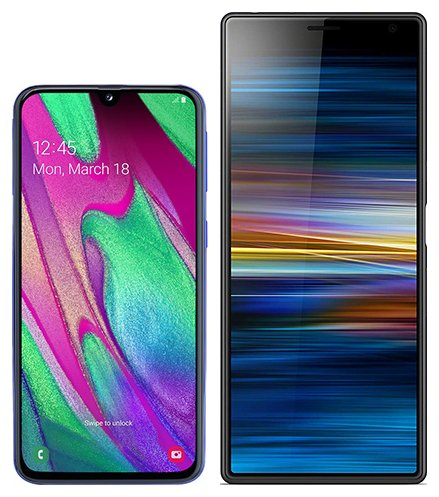 Smartphone Comparison: Samsung galaxy a40 vs Sony xperia 10 plus