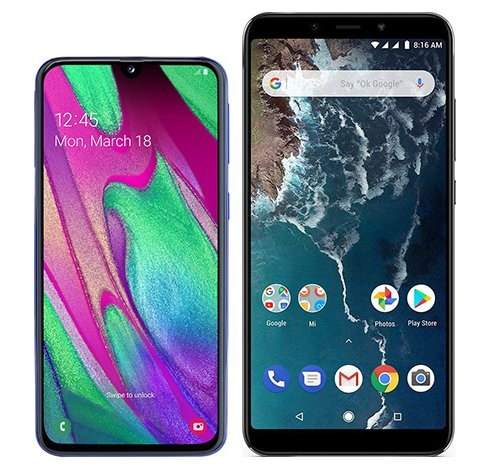 Smartphone Comparison: Samsung galaxy a40 vs Xiaomi mi a2