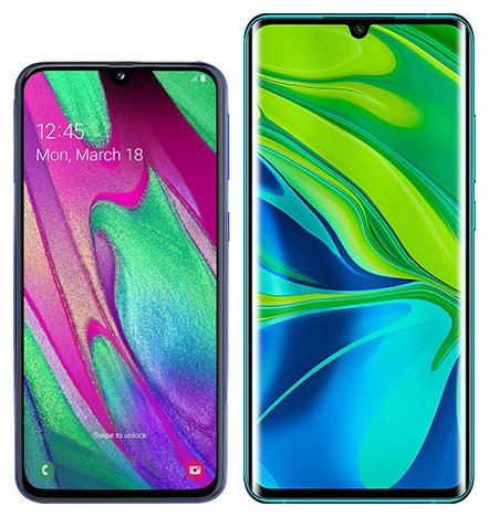 Smartphone Comparison: Samsung galaxy a40 vs Xiaomi note 10