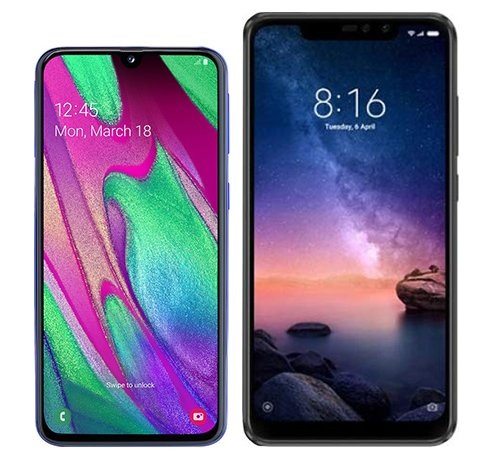 Smartphone Comparison: Samsung galaxy a40 vs Xiaomi redmi note 6 pro