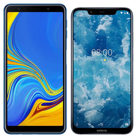 Smartphone Comparison: Samsung galaxy a7 2018 vs Nokia 8 1