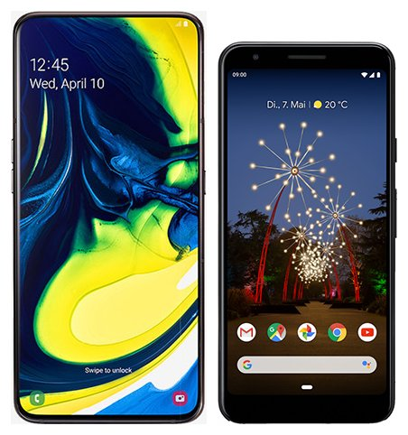 Smartphone Comparison: Samsung galaxy a80 vs Google pixel 3a