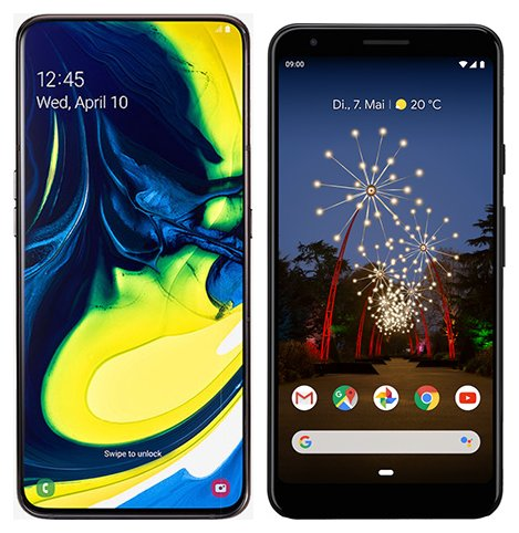 Smartphone Comparison: Samsung galaxy a80 vs Google pixel 3a xl