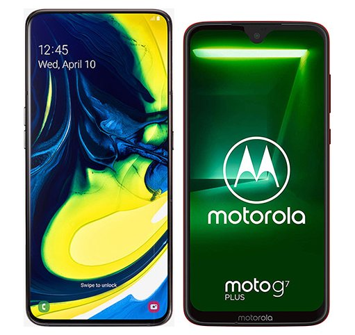 Smartphone Comparison: Samsung galaxy a80 vs Motorola moto g7 plus