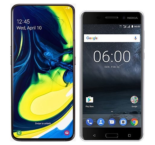 Smartphone Comparison: Samsung galaxy a80 vs Nokia 6