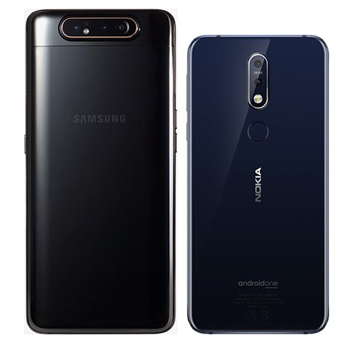 Galaxy A80 vs Nokia 7.1. View of main cameras