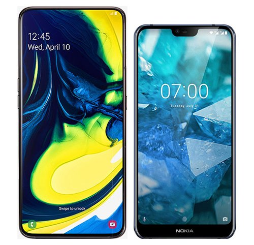 Galaxy A80 vs Nokia 7.1. Size comparison
