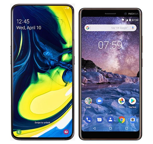 Smartphone Comparison: Samsung galaxy a80 vs Nokia 7 plus