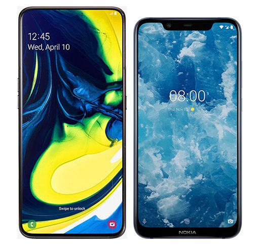 Smartphone Comparison: Samsung galaxy a80 vs Nokia 8 1