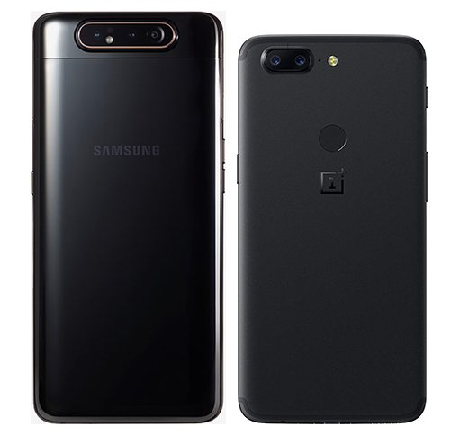 Galaxy A80 vs One Plus 5T. View of main cameras