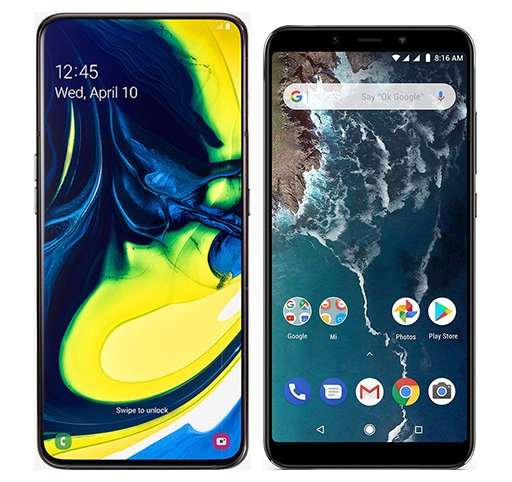 Smartphone Comparison: Samsung galaxy a80 vs Xiaomi mi a2