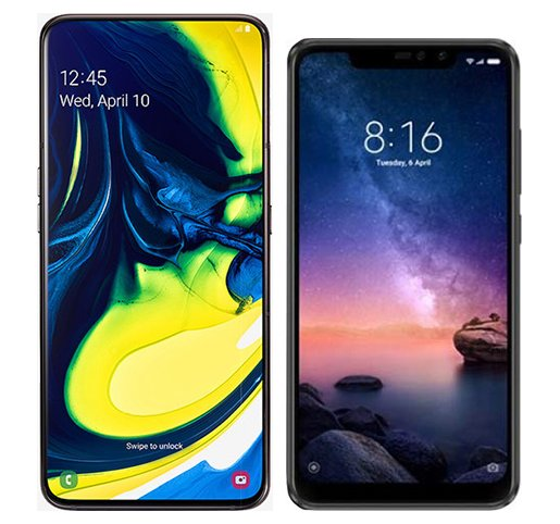 Smartphone Comparison: Samsung galaxy a80 vs Xiaomi redmi note 6 pro