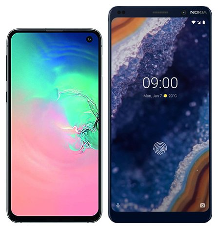 Smartphone Comparison: Samsung galaxy s10e vs Nokia 9