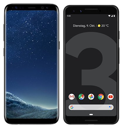 Smartphone Comparison: Samsung galaxy s8 vs Google pixel 3