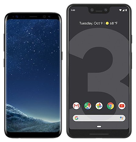 Smartphone Comparison: Samsung galaxy s8 vs Google pixel 3 xl