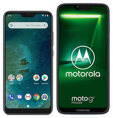 Smartphone Comparison: Xiaomi mi a2 lite vs Motorola moto g7 power