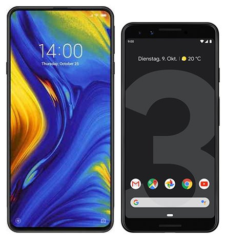 Smartphone Comparison: Xiaomi mi mix 3 vs Google pixel 3