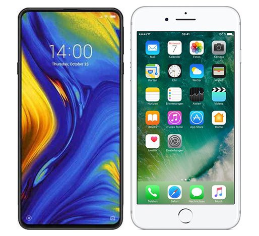 Smartphonevergleich: Xiaomi mi mix 3 oder Iphone 7 plus