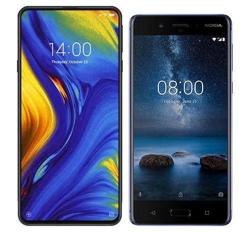 Smartphone Comparison: Xiaomi mi mix 3 vs Nokia 8