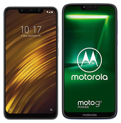 Smartphone Comparison: Xiaomi pocophone f1 vs Motorola moto g7 power